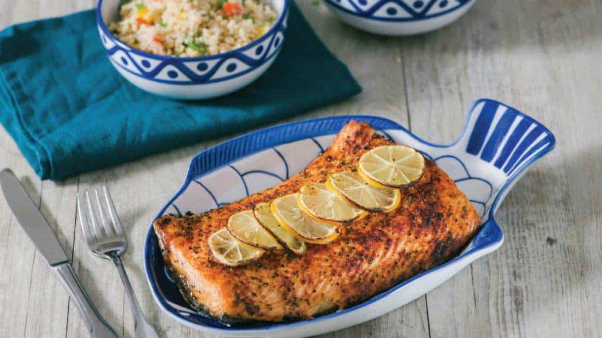 Baked Salmon With Lemon Butter And Quinoa Salad Chef Sheilla The Soulful Kitchen Diva