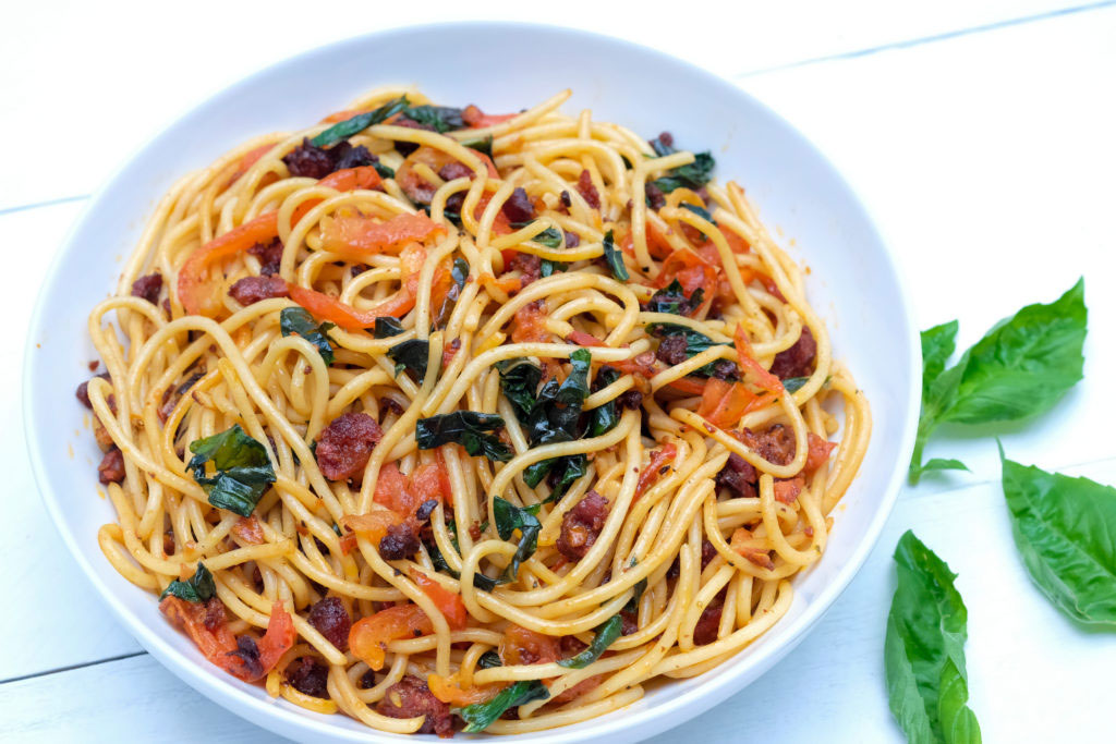 Chorizo, Tomato & Basil Pasta