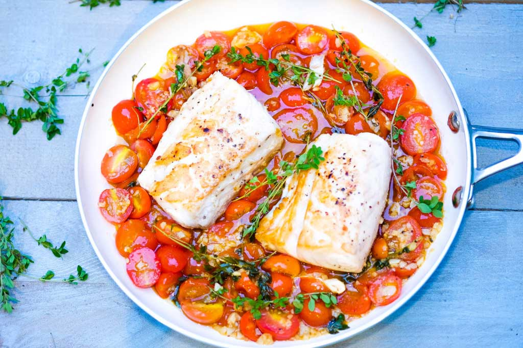 Chef Sheilla Pan Seared Cod In White Wine Tomato Sauce