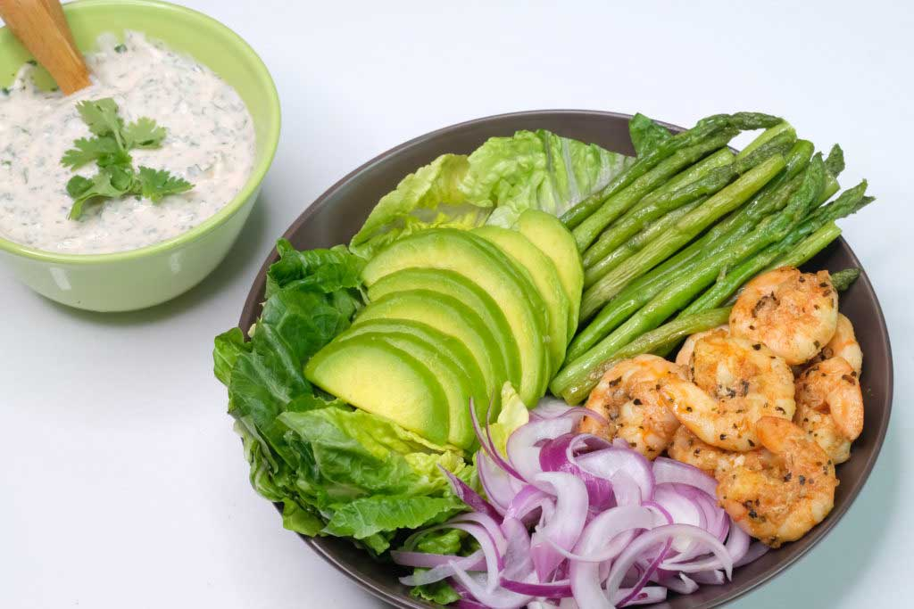 Shrimp, Avocado and Asparagus Salad with Cilantro-Yogurt Dressing
