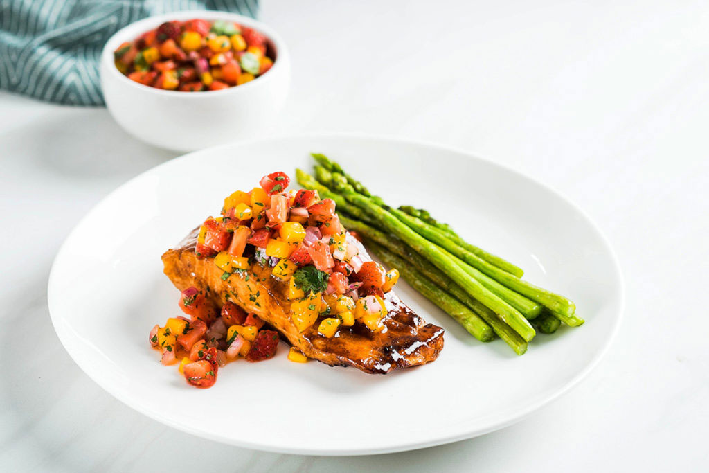 Balsamic-Glazed Salmon With Strawberry Mango Salsa